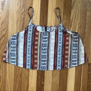 Tribal Print Silky Crop Top